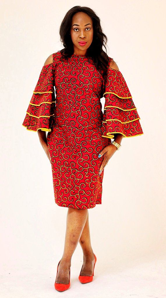 8ff904d897645 African Print Ankara Bell Sleeves Dress | Robes | African fashion ...