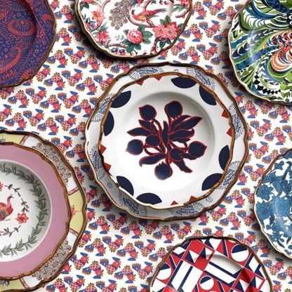 This Italian fashion designer has just launched the most beautiful tableware collection: Dubbed La DoubleJ Housewives, the range of Italian-made linens and dishes is as playful, maximalist, and colourful as the brand's fashion designs - Vogue Living