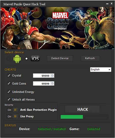 Marvel Puzzle Quest Hack Tool ~ 23 gp king