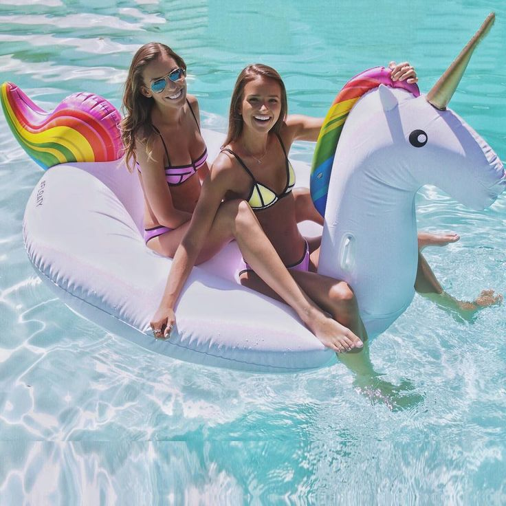 Get your own magical unicorn pool float from #FLOATY and also get your own TRIANGL swimsuits