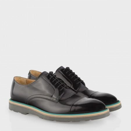 Paul Smith Men's Shoes - Black And Teal High-Shine Leather Thom Shoes