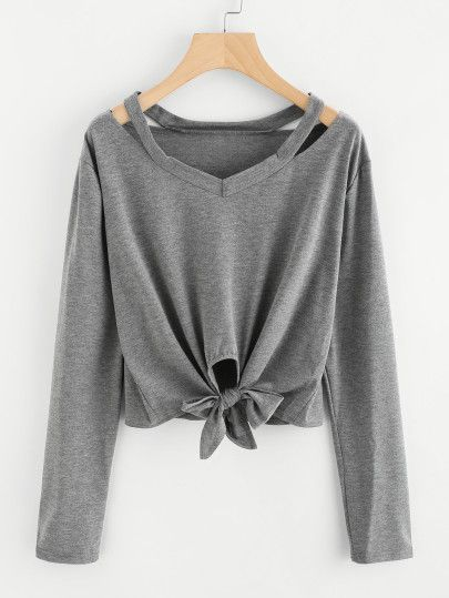 Cut Out Neck Knot Front TeeFor Women-romwe  eb67ea83c