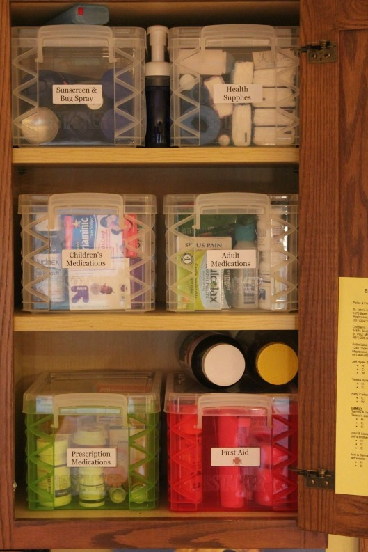 Organize your medicine cabinet in a kitchen cabinet.
