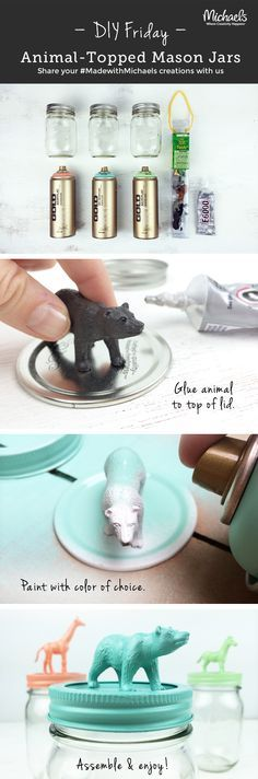 Add a fun twist to gifting and serving treats with our DIYFriday easy Animal Topper Mason Jars. Make in a snap!