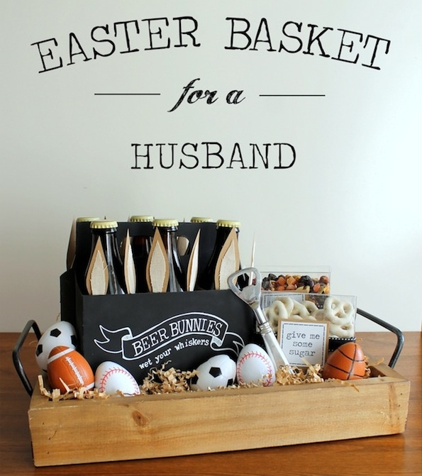 396 best diy gift hamper ideas images on pinterest gift ideas easter basket for him good ideas to make a basket that contains his favorite items i have found those sport eggs at the dollar tree negle