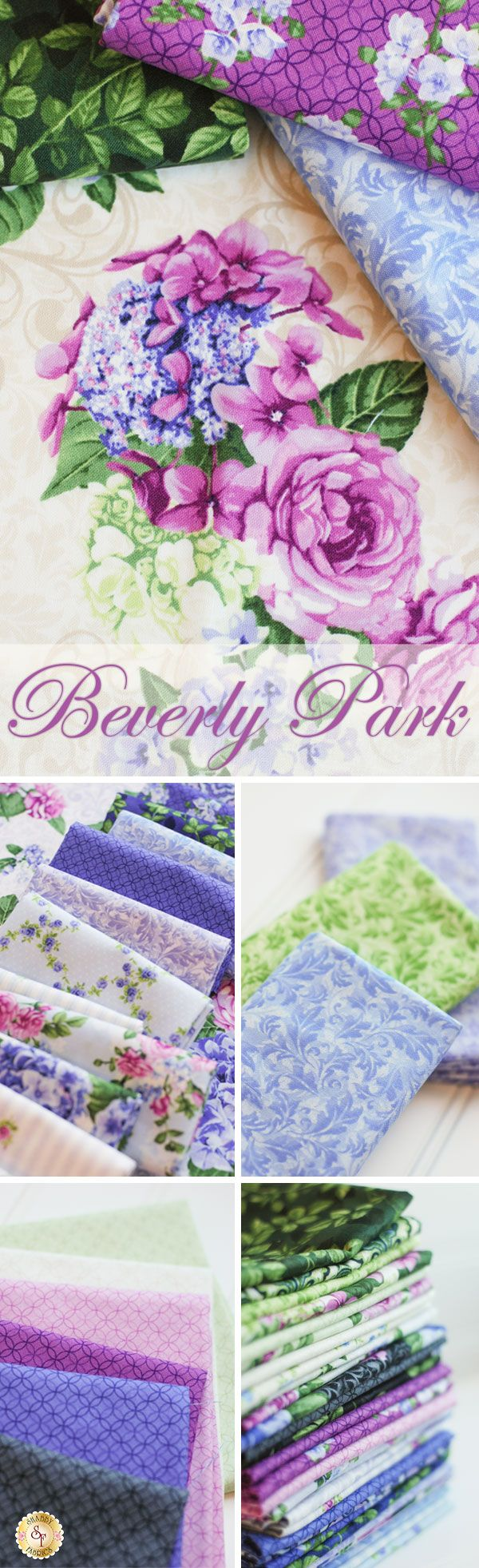 Beverly Park - RJR Fabrics Add beauty and elegance to your fabric collection with the Beverly Park line from RJR Fabrics. This romantic line incorporates tiny rosebuds, blooming flowers, and vibrant paisleys for a striking yet soft collection. Feminine and colorful, the Beverly Park collection features purples, fuchsias, and greens with both bold and muted designs.