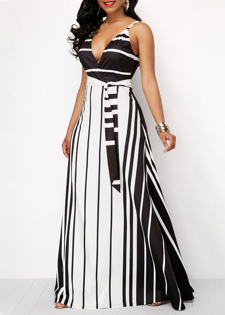 Stripe Print Spaghetti Strap Belted Maxi Dress | Rotita.com - USD $35.33 | Things to wear in 2019 | Pinterest | Dresses, Striped dress and Shirt Dress