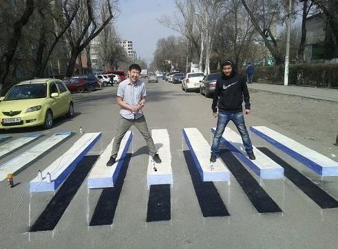 3D-рисунок зебры - лучшее средство против превышения скорости.