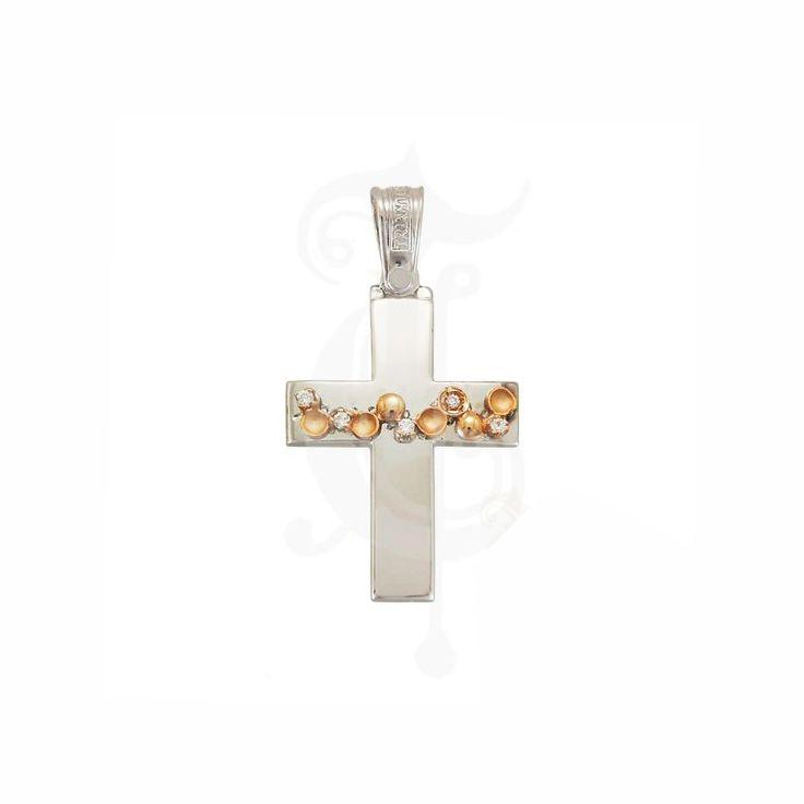 Μοντέρνος βαπτιστικός σταυρός ΤΡΙΑΝΤΟΣ για κορίτσι από ροζ χρυσό & λευκόχρυσο Κ14 με πέτρες και στρογγυλά σχέδια σαν λουλουδάκια στο οριζόντιο τμήμα | Βαπτιστικοί σταυροί ΤΣΑΛΔΑΡΗΣ στο Χαλάνδρι #βαπτιστικός #σταυρός #ροζ #κορίτσι #2016