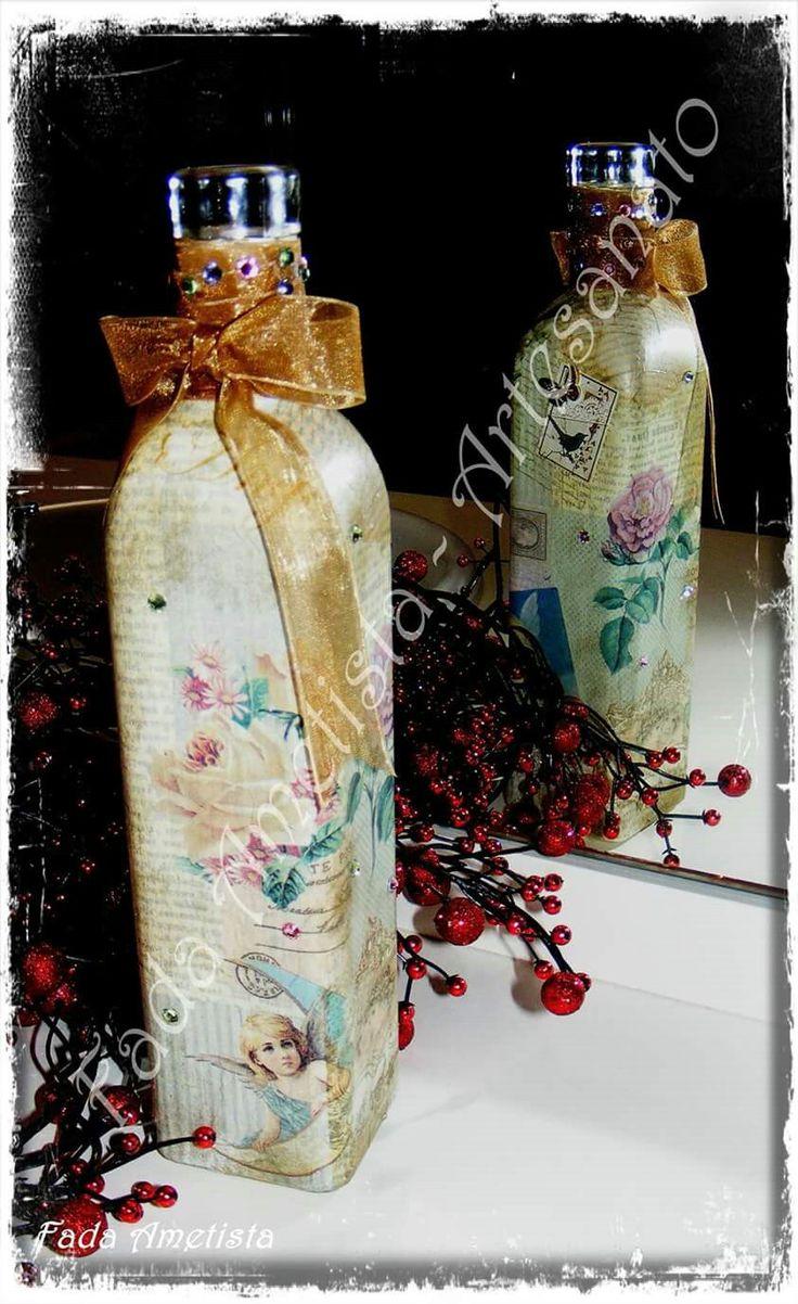 Garrafa decorada angels https://www.facebook.com/FadaAmetista/photos/a.1677323449251788.1073741859.1589593488024785/1700293836954749/?type=3&theater