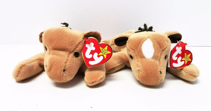 TY Original Beanie Babies Derby the Horse Set of 2 with and without white mark #Ty