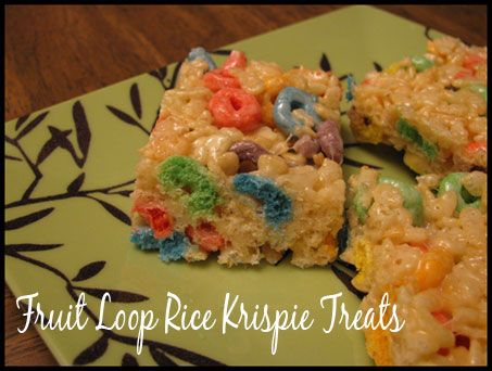 Fruit Loop Rice Krispie Treats Recipe - Fun twist on an old favorite and makes enough to feed a crowd.