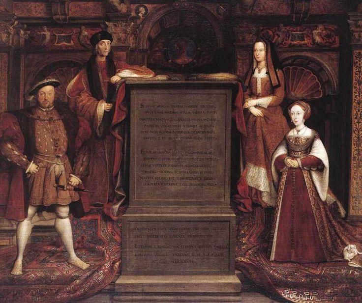 Генрих VII со своей женой Елизаветой Йоркской (вторая справа), его сын Генрих VIII (первый слева) и его Джейн Сеймур (справа)