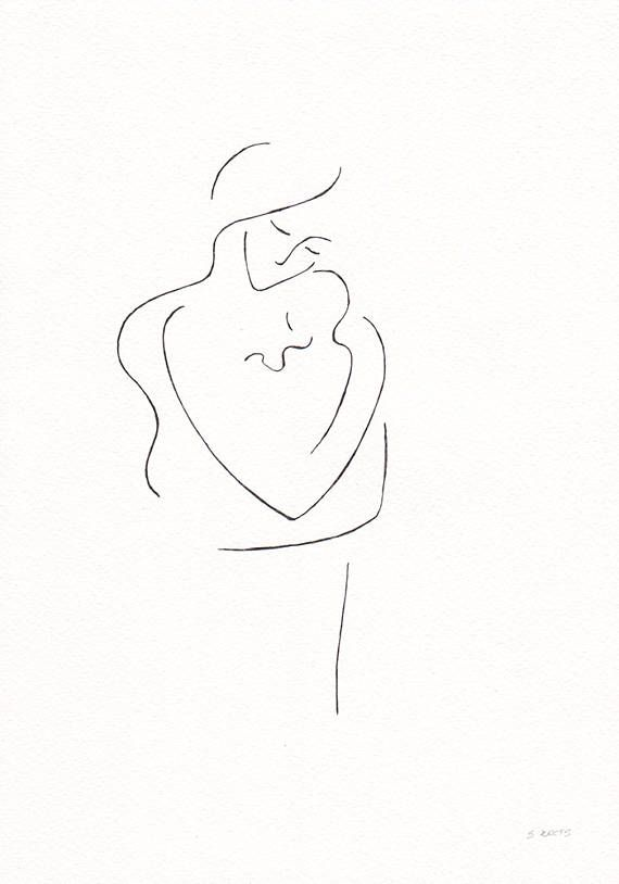 Original sketch. Minimalist drawing of a mother with baby. Pen