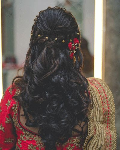 Let your hair down <3 Indian bridal hairstyles, Bridal hairstyles, indian wedding hairstyles, bridal ghoonghat , hairstyles, fancy floral half braided updo | Every Indian bride's Fav. Wedding E-magazine to read.Here for any marriage advice you need | www.wittyvows.com shares things no one tells brides, covers real weddings, ideas, inspirations, design trends and the right vendors, candid photographers etc.
