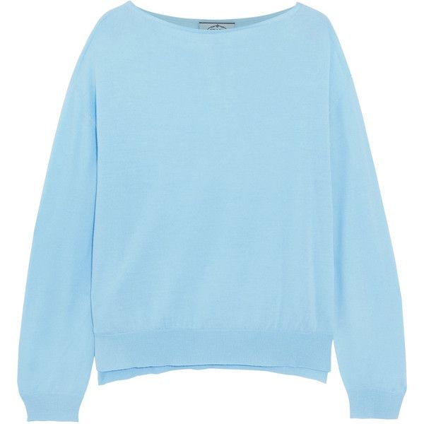 Prada Wool sweater (8.952.360 IDR) ❤ liked on Polyvore featuring tops, sweaters, light blue, slouchy tops, loose tops, loose fitting sweaters, slouch sweater and light blue sweater