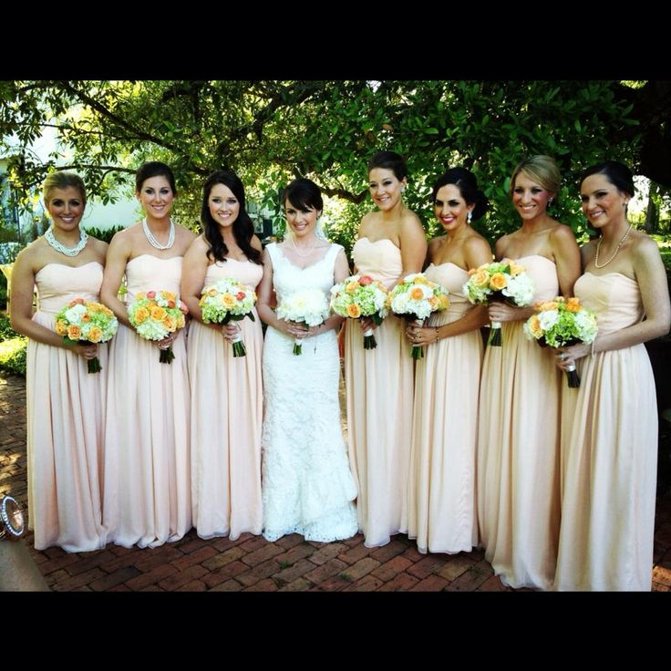 Blush Chiffon Bridesmaid Dress by Jolie and Elizabeth....