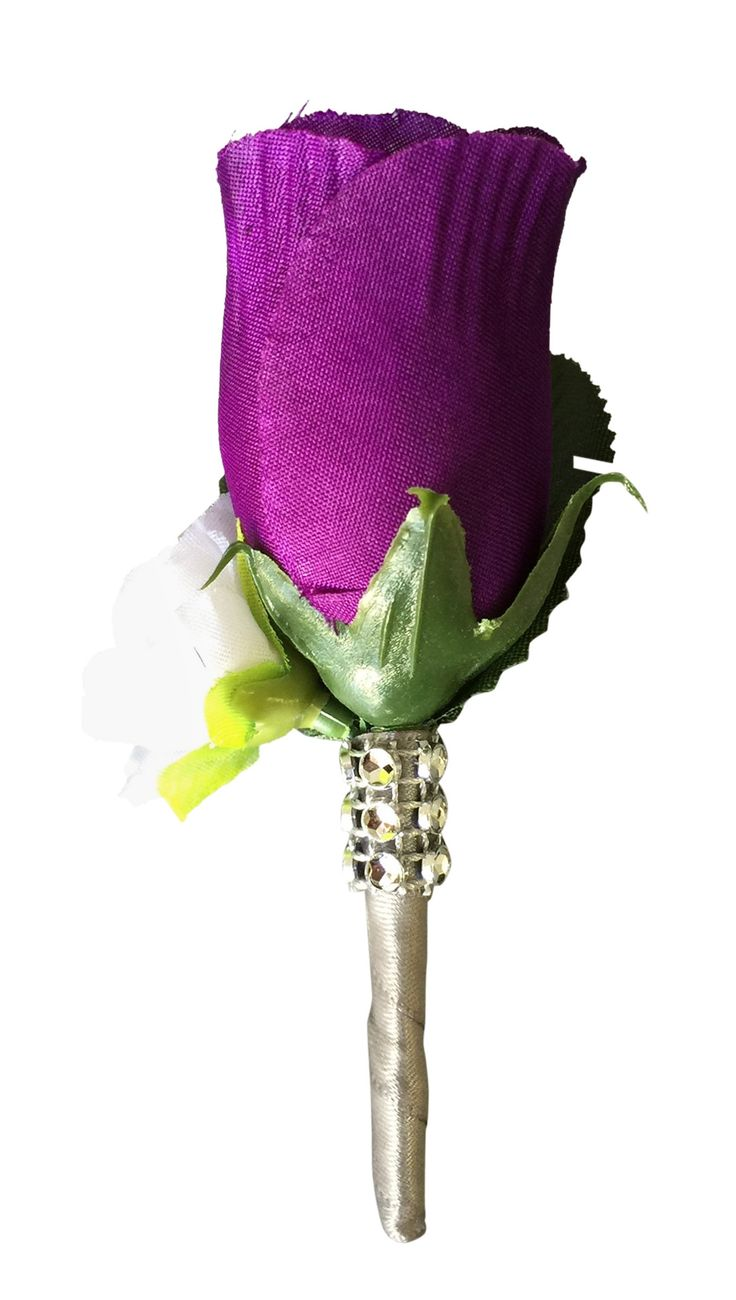 Boutonniere:Purple rose bud with mini white rose. silk flower-Pin included