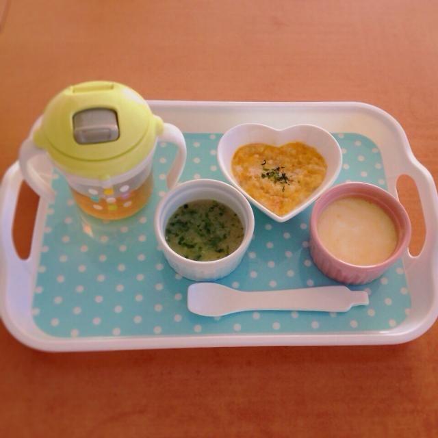♢カボチャとチーズのパン粥 ♢玉ねぎと青海苔のスープ ♢りんごとオレンジのヨーグルト ♢麦茶 - 34件のもぐもぐ - 離乳食 by kaiton0312