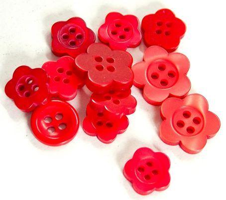 Some of our favourite red buttons, used mostly on our little girls dresses!  Visit our amazing Fair Trade tailoring centre at http://eternalcreation.com/himalayan-workshop
