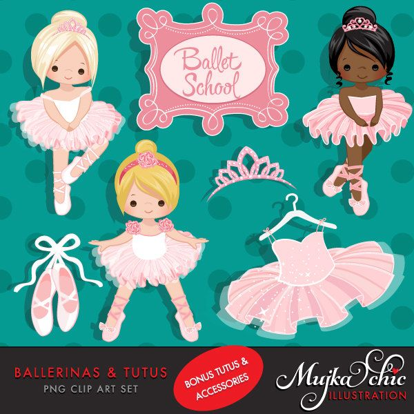 Ballerinas and Tutus Clipart with cute characters, pink tutus, ballet shoes Graphics Instant Download Ballerina Graphics. by mujka on Etsy