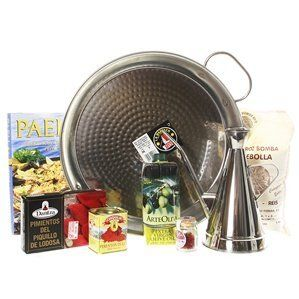 Paella Pan Gift Set with Olive Oil Dispenser by La Paella. $164.70. Stainless Steel Olive Oil Dispenser included with set.. Includes essential paella ingredients.. Serves 2 to 4 people.. A great gift for any special occasion!. Made in Spain.. Paella Pan Gift Set with Olive Oil Dispenser This beautiful gift has more than everything a person would want for making paella. It not only includes a stainless steel paella pan and authentic Spanish ingredients, it comes with a bo...
