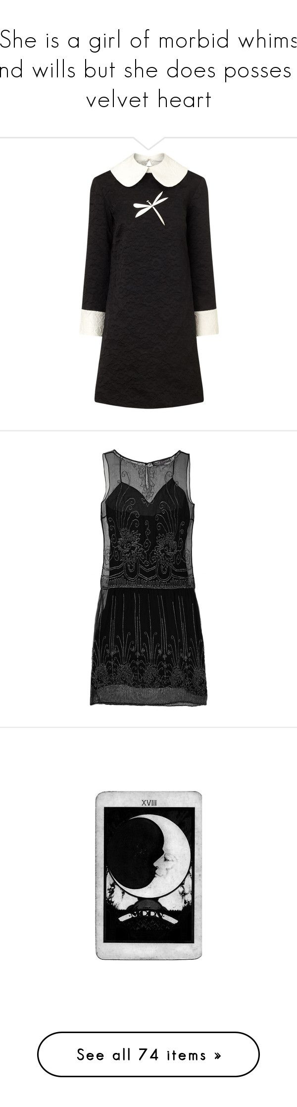 """""""She is a girl of morbid whims and wills but she does posses a velvet heart"""" by babytangerine ❤ liked on Polyvore featuring dresses, black, peter pan dress, textured dress, open back dresses, jacquard dress, peter pan collar dress, black dress, party dresses and ralph lauren"""