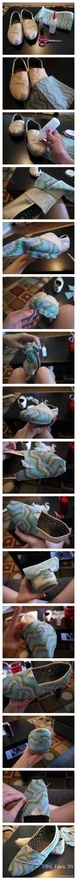 TOMS Fabric #DIY : How to renew old TOMS shoes with this no-sew upholstery how-to.