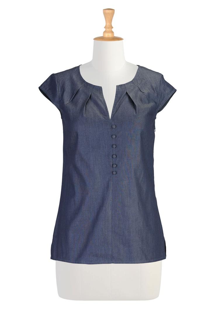 Blusa Chambray, la moda mujeres de talla 36W blusas del diseñador - Tops para Mujeres Zapatos para Túnica - Tops Tops Embellished, de manga larga, Camisetas de manga corta - | eShakti.com