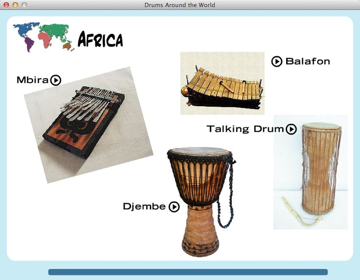 Drums Around The World from The Music Interactive. Interactive map that allows to to see and hear drums from different cultures