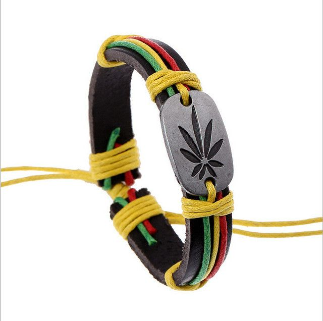 50% OFF - Lucky Jamaica Leaf Leather and Metal Bracelet