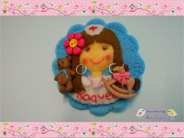 Bom Dia Alegria ♥ Para a Enfermeira Raquel que é Enfermeira da Pediatria, uma Pregadeira de Feltro Obrigado Raquel, Beijocas