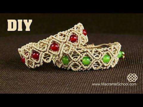 Macramé Diamond Square Bracelet with Beads [DIY] Tutorial - YouTube