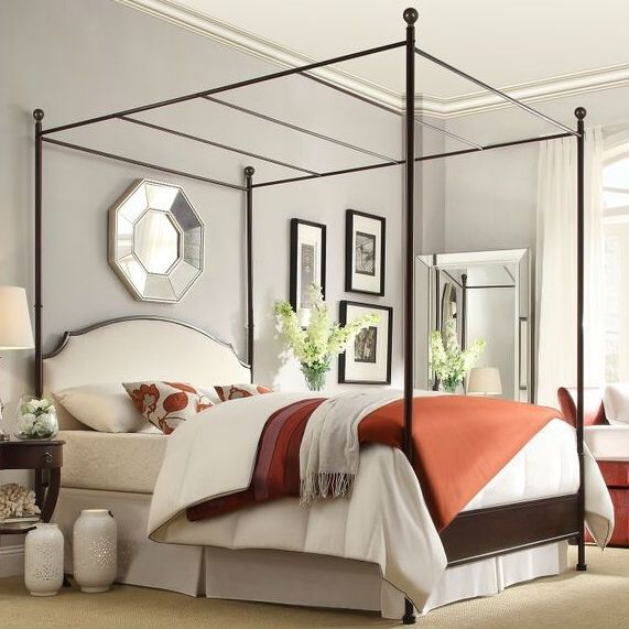 Queen Metal Canopy Bed With White Cream Linen Upholstered