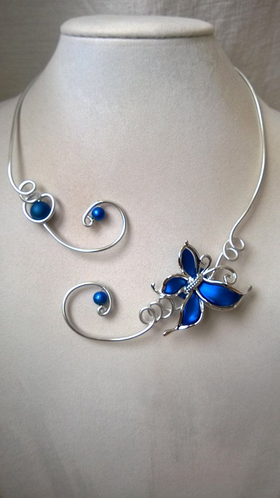 ROYAL BLUE NECKLACE Royal blue wedding jewelry Wire jewelry