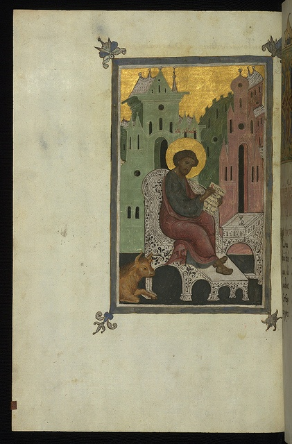 St Luke the Evangelist, with his symbol, the ox, late sixteenth-century illuminated manuscript by Luke the Cypriot/Russian artists, Walters Manuscript W.535, fol. 158v. (Walters Museum)