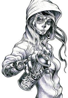 feminine skulls | Feminine Sugar Skull Tattoos | day of the dead girl | Tumblr
