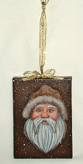 Mini Canvas Santa Orniment  Hand Painted