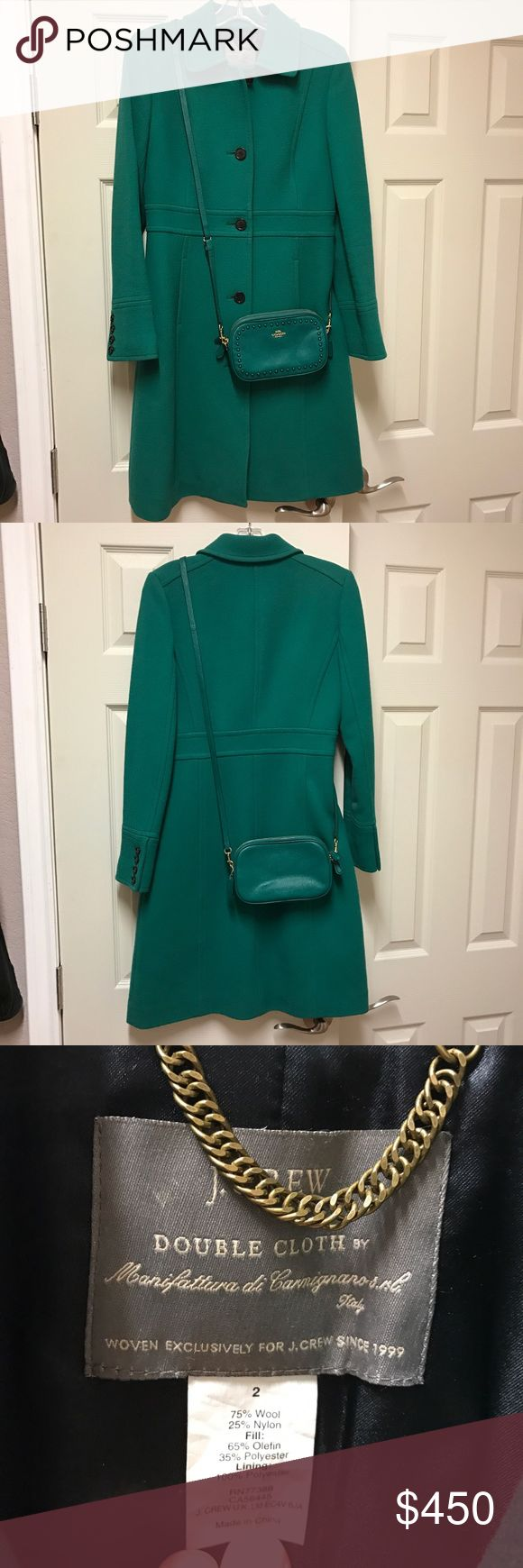 J Crew Double Cloth Lady Coat & Coach Crossbody JCrew Double Cloth Lady Coat in Hunter / Kelly Green in Size 2 with Thinsulate. Excellent Condition - Reposhing because it isn't the right shade of green. I am looking for the bright green called Coastal Green in a 2 or 4. I am selling it with a matching Coach Crossbody Clutch Purse. They are a perfect matching pair! This is the little bit larger crossbody and will hold an iPhone Plus very easily. It is missing the wristlet strap. The purse is…