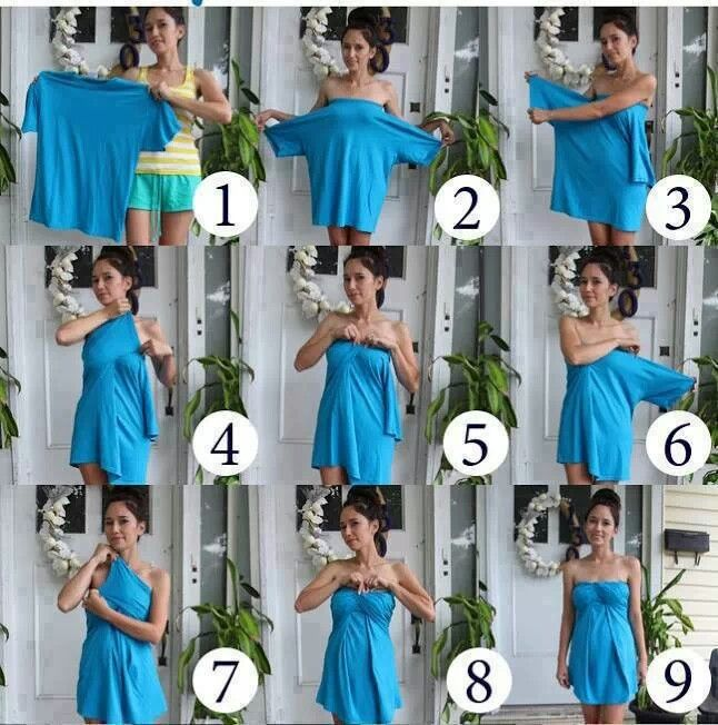 No sew tube dress/shirt from oversize t-shirt!