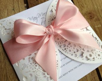 floral wedding invitations with bow - Google Search