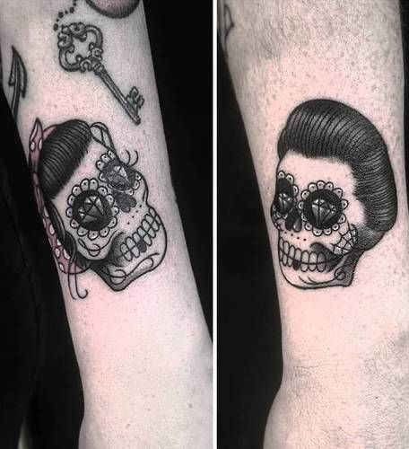 His and hers sugar skulls. | Matching couple tattoos ...