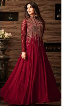 e6a6bbf2c4 A Line Crystals Stones Work Salsa Red Color Party Wear Churidar Suit |  FH617889601