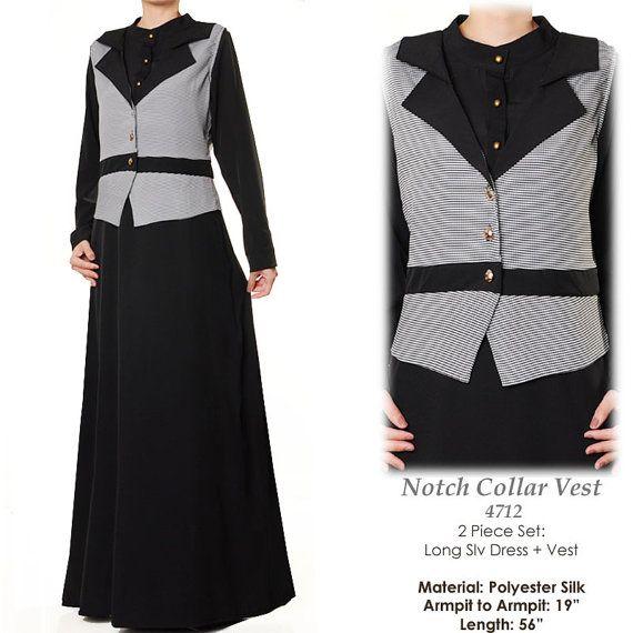 B&W Notch Collar Vest Career Black Modest Abaya Long by MissMode21, $32.00