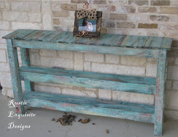 Rustic Sofa Table, Console Table, Entertainment Center, Entry Way Table on Etsy, $300.00