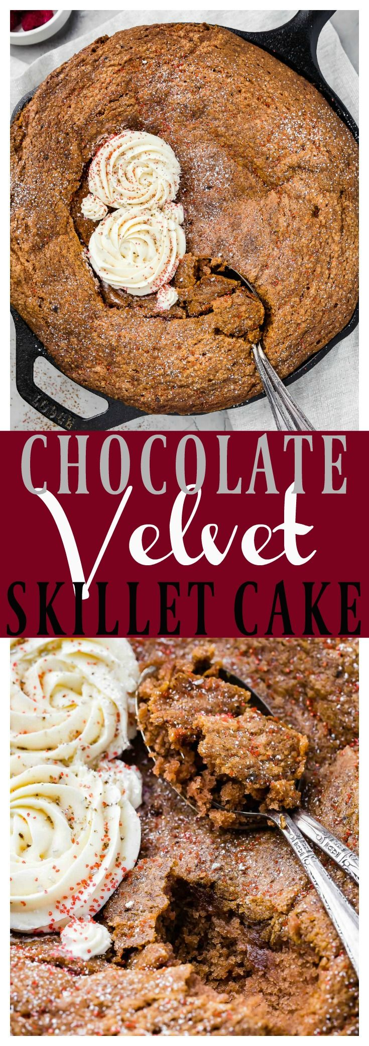 Chocolate Velvet Skillet Cake with Cream Cheese Frosting [& recipe video] | This Skillet Cakeis a spin on red velvet cake and can be served TWO ways! Fresh from the oven for a molten chocolate interior, or allowed to cool on the counter for a moist, slice-able cake. #chocolate #cake #recipe
