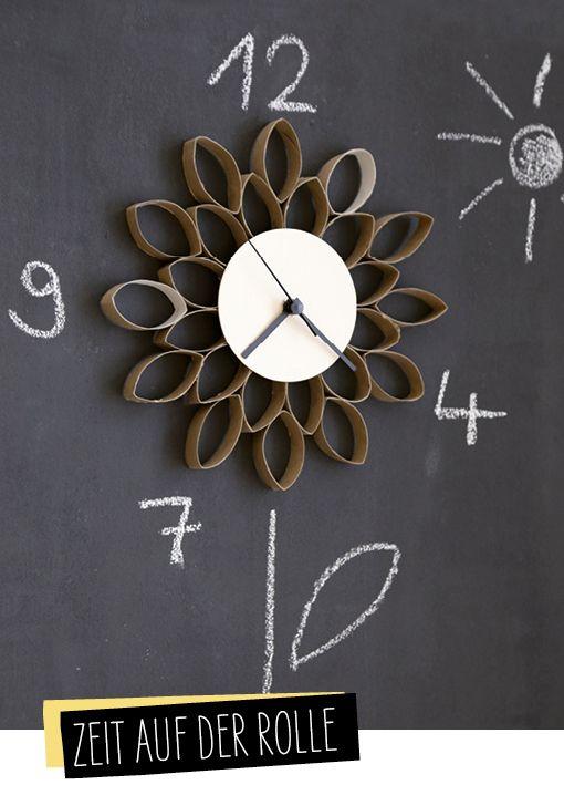 Uhr aus Klorollen: Aus meinem ersten Buch #upcycling, dass im Oktober im BLV erscheint. Jetzt auf dem Blog vorbestellen :)