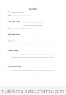 Free Bill Of Sale Printable Real Estate Forms  Free Printable Real Estate Sales Contract