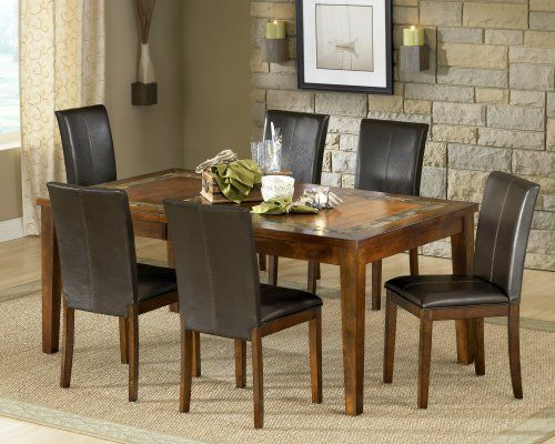 Steve Silver FurnitureDavenport 7 Piece Slate Dining Table Set In Tobacco