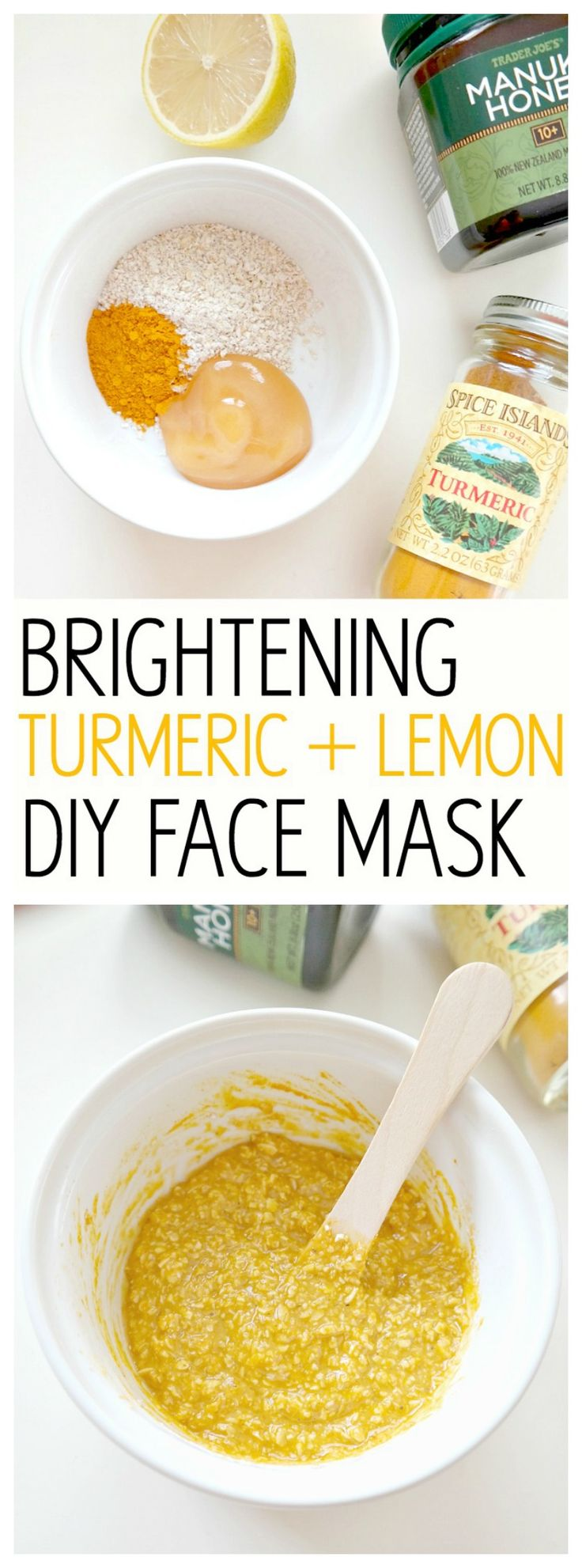 Brightening Turmeric + Lemon DIY Face Mask. With beautifying turmeric and healing manuka honey, this mask is perfect for acne-prone skin, evening out skin tone and rejuvenating radiance. Helps retain moisture and a glowy complexion!